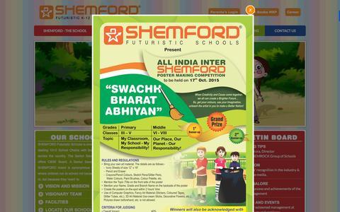 Screenshot of Home Page shemford.com - SHEMFORD School: CBSE 10+2 School | Senior Secondary School, India - captured Oct. 7, 2015