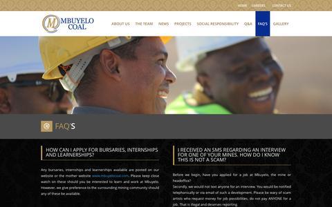 Screenshot of FAQ Page mbuyelocoal.com - FAQ's - Mbuyelo Coal - captured July 22, 2016