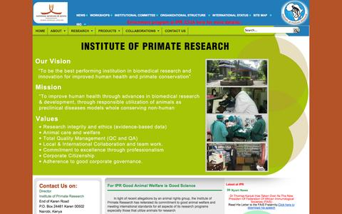 Screenshot of Home Page Press Page primateresearch.org - HOME - captured Oct. 6, 2014