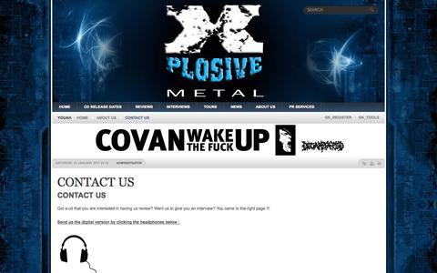 Screenshot of Contact Page xplosivemetal.com - CONTACT US   X-PLOSIVE METAL - It's all Metal all the time!! - captured Oct. 9, 2014