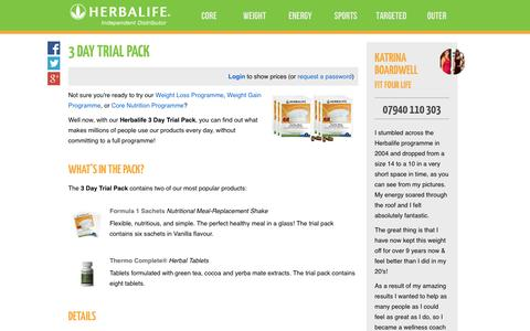 Screenshot of Trial Page fitfourlife.co.uk - 3 Day Trial Pack - Katrina Boardwell's Herbalife Shop - captured Oct. 6, 2014