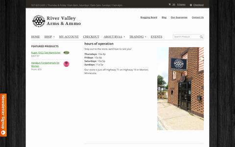 Screenshot of Hours Page rivervalleyarms.com - Hours of Operation | River Valley Arms & Ammo - captured Oct. 9, 2014