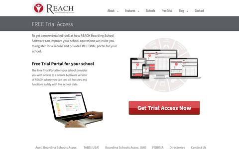 Screenshot of Trial Page reachboarding.com - Boarding School Daily Management Software with iPhoneand iPad — REACH Boarding School Software - captured Feb. 29, 2016