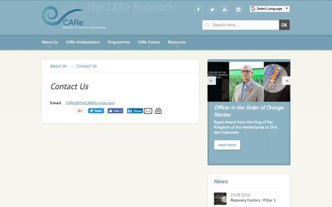 Screenshot of Contact Page thecareeurope.com - The CARe Network #recovery #sustainability #socialimpact #socent #mentalhealth - The CARe Network - captured Nov. 9, 2018
