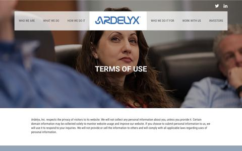 Screenshot of Terms Page ardelyx.com - Terms of Use | Ardelyx - captured Oct. 8, 2017