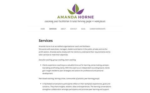 Screenshot of Services Page amandahorne.com.au - Services – Amanda Horne - captured Oct. 8, 2017