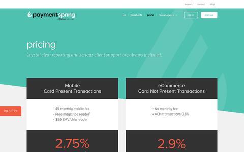 Screenshot of Pricing Page paymentspring.com - Price - PaymentSpring - captured April 21, 2017