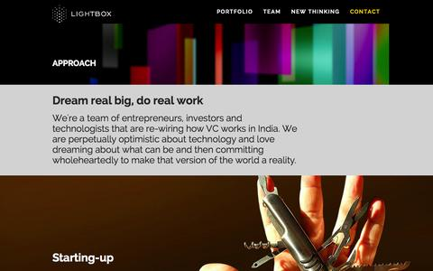 Screenshot of Contact Page lightbox.vc - Approach - LIGHTBOXLIGHTBOX - captured Oct. 31, 2014