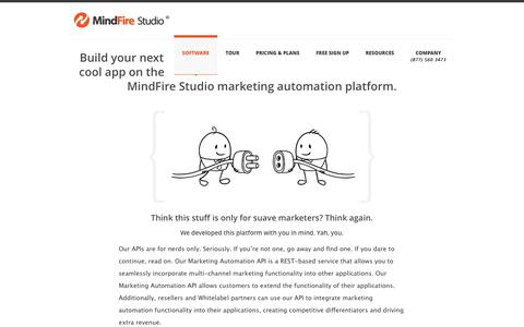 Screenshot of Developers Page mindfirestudio.com - Marketing Automation Platform for Developers - MindFire Studio - captured Oct. 7, 2014