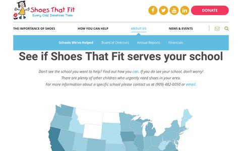 Screenshot of Locations Page shoesthatfit.org - See the schools we're helping | Shoes That Fit - captured May 27, 2017