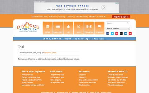 Screenshot of Trial Page divorcecircus.com - Divorce Circus -   Trial - captured Sept. 30, 2014