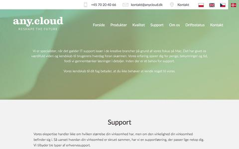 Screenshot of Support Page anycloud.dk - any.cloud | Support - captured Oct. 9, 2017