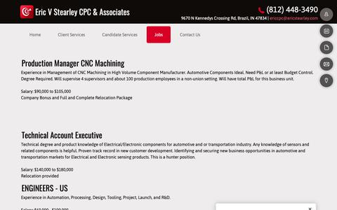 Screenshot of Jobs Page ericcpc.com - Recruiting Services - Eric V Stearley CPC & Associates - Brazil, Indiana - captured Sept. 29, 2018