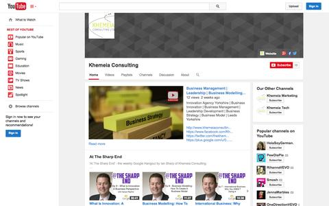 Screenshot of YouTube Page youtube.com - Khemeia Consulting  - YouTube - captured Oct. 23, 2014