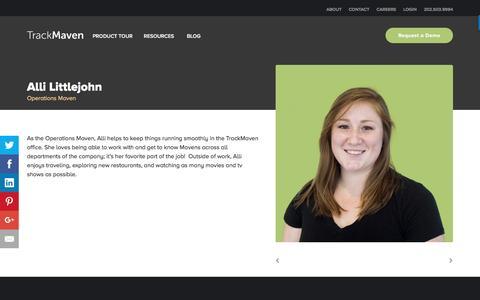 Screenshot of Team Page trackmaven.com - Alli Littlejohn – TrackMaven - captured Oct. 12, 2016