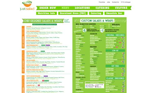 Screenshot of Menu Page justsalad.com - Menu | Just Salad - captured Sept. 24, 2014