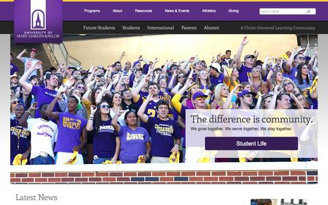 Screenshot of Home Page umhb.edu - UMHB - University of Mary Hardin-Baylor - a Christian university in Central Texas - captured Sept. 19, 2014