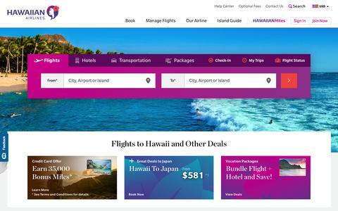 Screenshot of Home Page hawaiianairlines.com - Hawaiian Airlines - Flights to Hawaii, Plane Tickets & Airfare - captured May 15, 2017