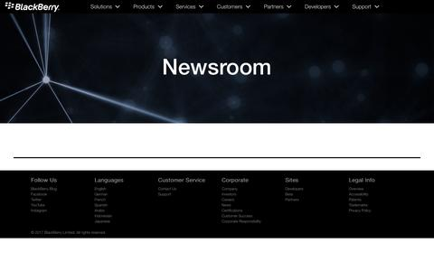 Screenshot of Press Page blackberry.com - BlackBerry Press Room - Official News, Events & Product Releases - captured Oct. 25, 2017