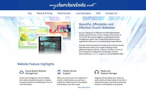 Screenshot of Home Page Contact Page FAQ Page Testimonials Page mychurchwebsite.net - Church Websites | $99 | Easy Admin, Many Designs - captured June 17, 2016