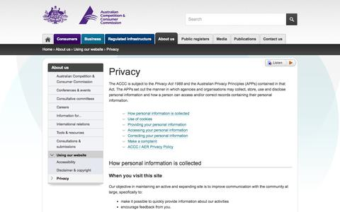 Screenshot of Privacy Page accc.gov.au - Privacy | ACCC - captured Nov. 4, 2014