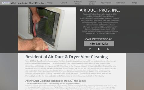 Screenshot of Home Page airductpros.net - Home - captured Nov. 20, 2016