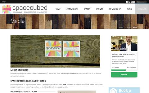 Screenshot of Press Page spacecubed.com - Media Enquires - Spacecubed Coworking Perth - captured Oct. 9, 2014