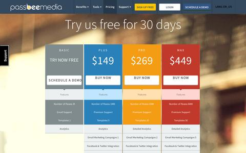 Screenshot of Pricing Page passbeemedia.com - Pricing « - captured July 19, 2014