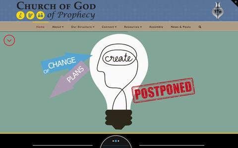 Screenshot of Home Page cogop.org - Home - Church of God of Prophecy - captured Jan. 23, 2015