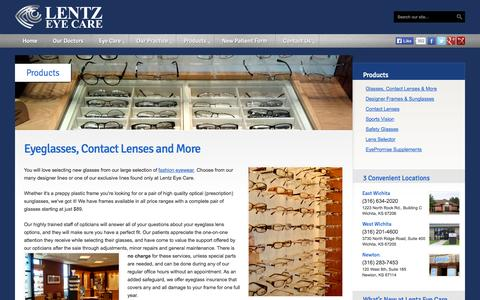 Screenshot of Products Page lentzeyecare.com - Fashion Eye Glasses, Contact Lenses, Prescription Sunglasses - Lentz Eye Care - captured Sept. 29, 2014