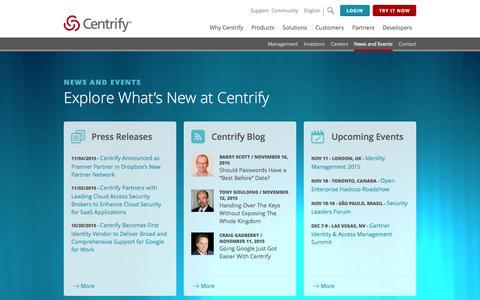 Screenshot of Press Page centrify.com - Centrify News and Events - captured Nov. 18, 2015