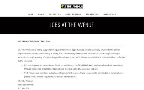 Screenshot of Jobs Page avenueradio.com - JOBS - 91.1 THE AVENUE - captured Jan. 20, 2018