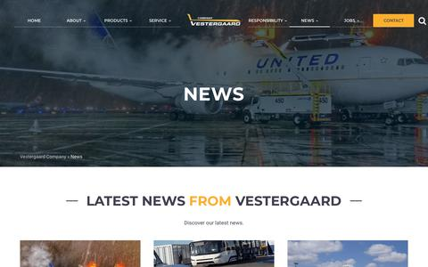 Screenshot of Press Page vestergaardcompany.com - News - Vestergaard Company - Aircraft De-Icing, Lavatory, Water, Ground Support Equipment, GSE - captured Oct. 18, 2018