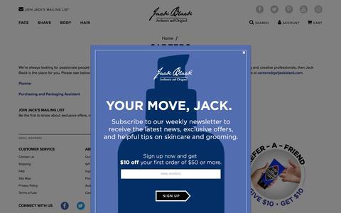 Screenshot of Jobs Page getjackblack.com - Careers - captured Aug. 17, 2018