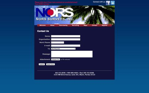 Screenshot of Contact Page norssurveys.com - NORS Surveys | Multicultural research and telephone interviewing services - captured Oct. 6, 2014
