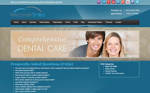 Screenshot of FAQ Page wisconsinsmiles.com - Frequently Asked Questions - Questions About WisconsinSmiles - captured Feb. 23, 2016
