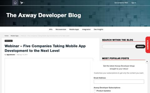 Screenshot of Developers Page axway.com - Webinar - Five Companies Taking Mobile App Development to the Next Level - captured April 27, 2019