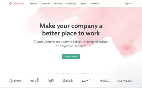 Screenshot of Home Page cultureamp.com - Culture Amp - Learn faster through feedback - captured Nov. 6, 2017