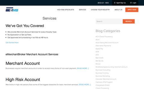 Screenshot of Services Page emerchantbroker.com - Merchant Account Services | High Risk Accounts | Check Processing Top Rated High Risk Merchant Accounts | Domestic & International Processor | eMerchantBroker - captured Oct. 20, 2015