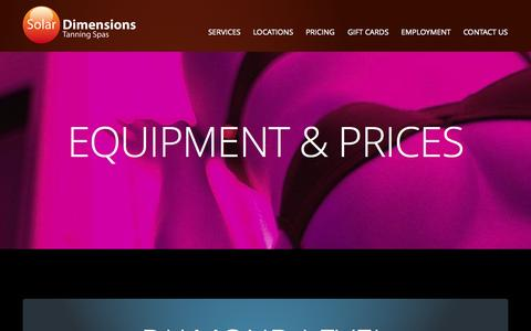 Screenshot of Pricing Page solardimensions.com - Solar Dimensions | EQUIPMENT & PRICES - captured Oct. 26, 2014