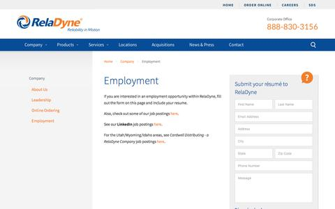 Screenshot of Jobs Page reladyne.com - Employment   Become a Part of the RelaDyne Family - captured Nov. 12, 2016