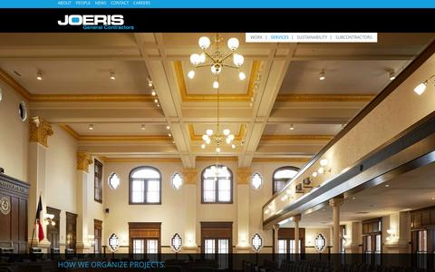Screenshot of Services Page joeris.com - How We Organize Projects. | Joeris General Contractors - captured Feb. 11, 2016