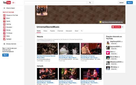 Screenshot of YouTube Page youtube.com - UniversalSacredMusic  - YouTube - captured Oct. 22, 2014