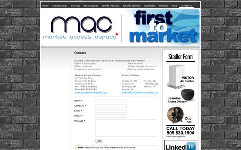 Screenshot of Contact Page marketaccesscanada.com - Contact Us - ||Market Access Canada || Manufacturer's Sales Agents - Representatives for Canada - captured Oct. 27, 2014