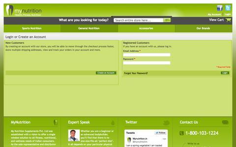 Screenshot of Login Page mynutrition.in - Customer Login - captured Oct. 7, 2014