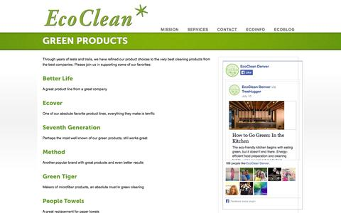 Screenshot of Products Page ecocleandenver.com - Products - EcoClean - Green House Cleaning - captured Sept. 29, 2014