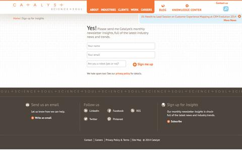 Screenshot of Signup Page catalystinc.com - Catalyst - Sign Up for Insights - captured Oct. 2, 2014