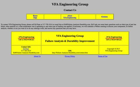 Screenshot of Contact Page failure-analysis-durability.com - VFA Engineering Group - Contact Us - captured Oct. 7, 2014