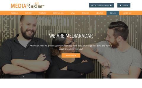 Screenshot of Jobs Page mediaradar.com - Careers | MediaRadar - captured April 12, 2017