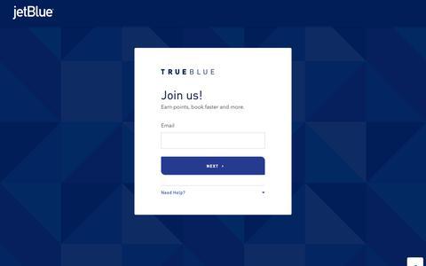 Screenshot of Signup Page jetblue.com - Join Us | TrueBlue | JetBlue - captured Oct. 30, 2018